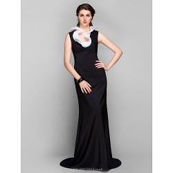 Formal Evening Dress Black Plus Sizes Petite Sheath Column Jewel Sweep Brush Train Stretch Satin