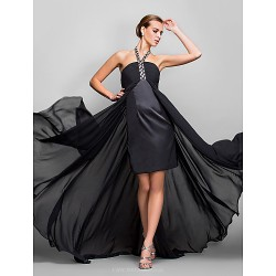 Formal Evening Military Ball Dress Black Plus Sizes Petite A Line Halter Asymmetrical Georgette