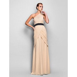 Formal Evening / Military Ball Dress - Champagne Plus Sizes / Petite Sheath/Column One Shoulder Floor-length Chiffon
