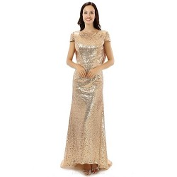 Formal Evening Dress - Gold Sheath/Column Jewel Floor-length Satin