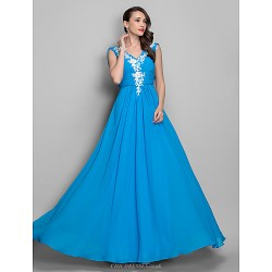 Formal Evening Prom Military Ball Dress Ocean Blue Plus Sizes Petite A Line Princess V Neck Floor Length Chiffon