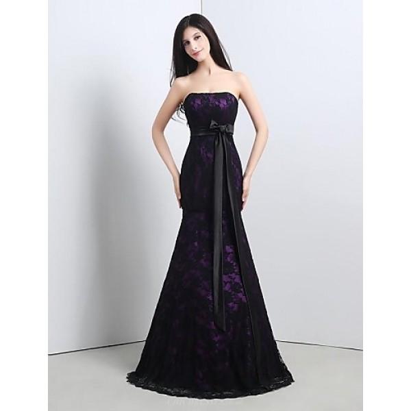 Formal Evening Dress - Grape Plus Sizes / Petite Trumpet/Mermaid Strapless Floor-length Lace Special Occasion Dresses