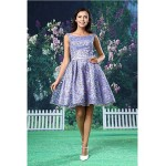 Cocktail Party Dress - Blushing Pink A-line Bateau Short/Mini Lace / Satin Special Occasion Dresses