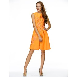 Cocktail Party Dress - Orange A-line Jewel Knee-length Chiffon