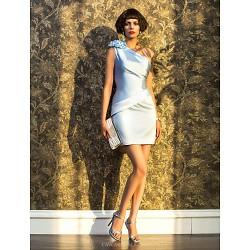 Cocktail Party Holiday Dress Sky Blue Plus Sizes Petite Sheath Column One Shoulder Short Mini Satin
