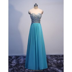 Formal Evening Dress-Blue Princess Sweetheart Floor Length Chiffon with Crystals
