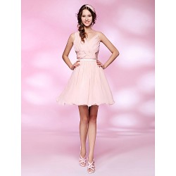 Cocktail Party / Homecoming / Sweet 16 Dress - Pearl Pink Plus Sizes / Petite A-line / Princess V-neck Short/Mini Chiffon / Tulle