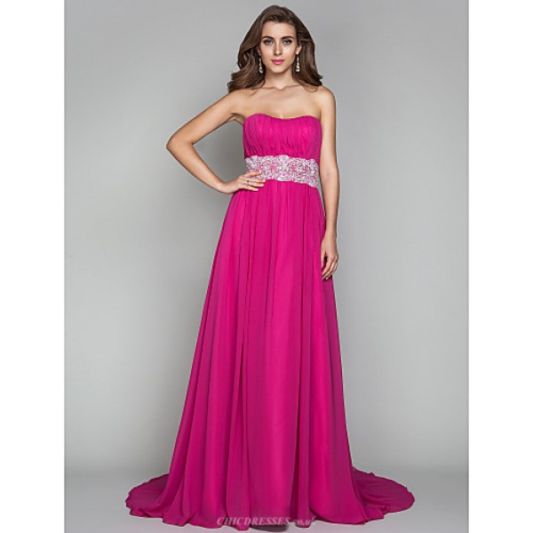 TS Couture Formal Evening / Military Ball Dress - Fuchsia Plus Sizes / Petite Sheath/Column Strapless Sweep/Brush Train Chiffon Special Occasion Dresses