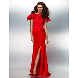 Formal Evening Dress Ruby Plus Sizes Petite Trumpet Mermaid Bateau Floor Length Stretch Satin