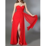 Formal Evening Military Ball Dress Ruby Plus Sizes Petite Sheath Column Strapless Sweetheart Floor Length Chiffon Stretch Satin