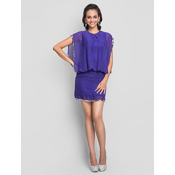 TS Couture Cocktail Party / Wedding Party Dress - Regency Plus Sizes / Petite Sheath/Column Jewel Short/Mini Chiffon Special Occasion Dresses
