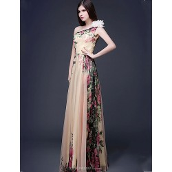 Formal Evening Dress - Print Plus Sizes / Petite A-line One Shoulder Floor-length Chiffon
