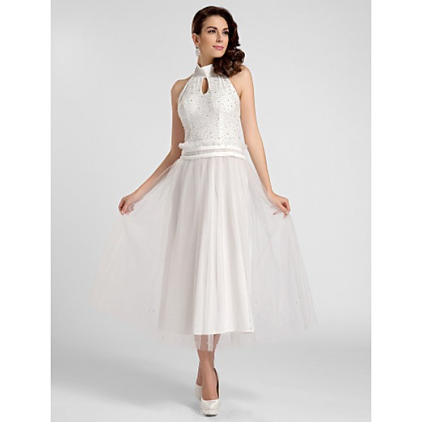 Cocktail Party / Prom / Formal Evening Dress - White Plus Sizes / Petite A-line / Princess High Neck / Halter Tea-length Satin / Tulle Special Occasion Dresses