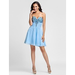 Cocktail Party / Prom Dress - Sky Blue Plus Sizes / Petite A-line / Princess Sweetheart / Strapless Short/Mini Chiffon