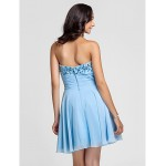 Cocktail Party / Prom Dress - Sky Blue Plus Sizes / Petite A-line / Princess Sweetheart / Strapless Short/Mini Chiffon Special Occasion Dresses