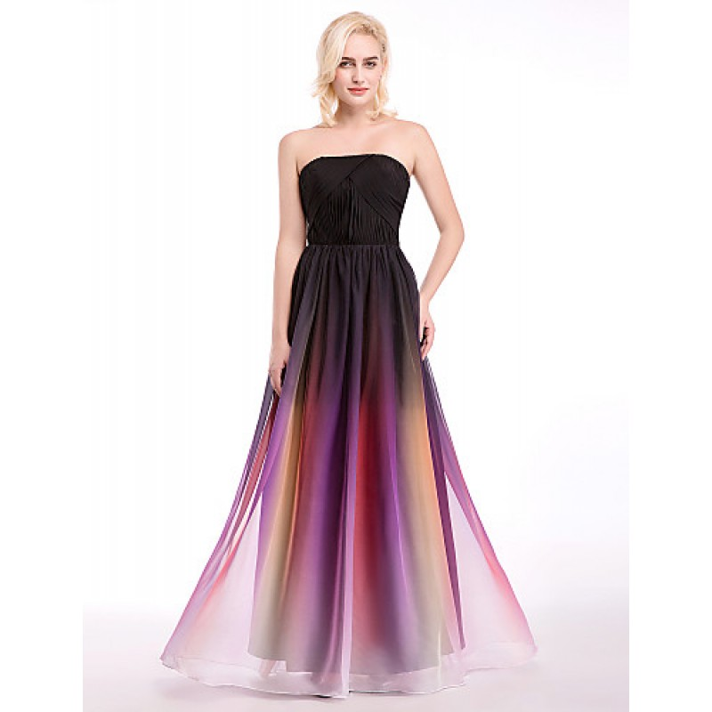 Formal Evening Dress - Multi-color Ball Gown Strapless Floor-length ...