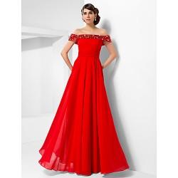 Formal Evening / Military Ball Dress - Ruby Plus Sizes / Petite A-line / Princess Off-the-shoulder Floor-length Chiffon