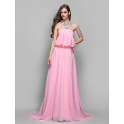 Formal Evening Military Ball Dress Blushing Pink Plus Sizes Petite A Line Princess Halter Sweep Brush Train Chiffon