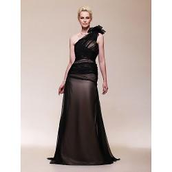 Formal Evening Military Ball Dress Black Plus Sizes Petite A Line One Shoulder Sweep Brush Train Chiffon