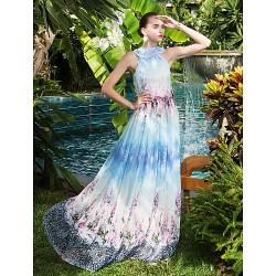Formal Evening / Prom / Military Ball Dress - Print Plus Sizes / Petite A-line High Neck Floor-length Chiffon