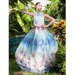 Formal Evening / Prom / Military Ball Dress - Print Plus Sizes / Petite A-line High Neck Floor-length Chiffon Special Occasion Dresses