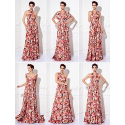 Mix&Match Convertible Dress Floor Length Knit Sheath Column Evening Dress (1912694)