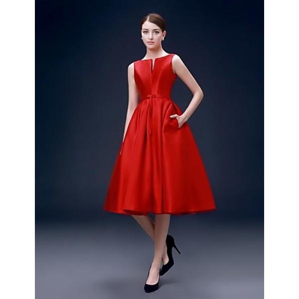 Cocktail Party Dress Ruby Plus Sizes A Line Bateau Knee Length Satin