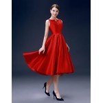 Cocktail Party Dress - Ruby Plus Sizes A-line Bateau Knee-length Satin Special Occasion Dresses
