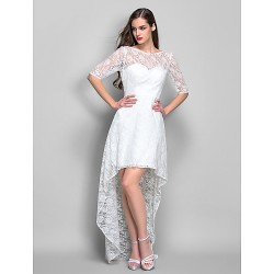Cocktail Party / Homecoming / Holiday / Graduation Dress - Ivory Plus Sizes / Petite Sheath/Column Scoop Asymmetrical Lace
