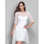 Cocktail Party / Homecoming / Holiday / Graduation Dress - Ivory Plus Sizes / Petite Sheath/Column Scoop Asymmetrical Lace Special Occasion Dresses