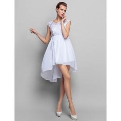 Cocktail Party / Homecoming / Holiday Dress - White Plus Sizes / Petite Sheath/Column Scoop Short/Mini Chiffon / Lace