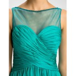 Bridesmaid Dress Floor Length Chiffon and Tulle Sheath Column Scoop Dress Special Occasion Dresses