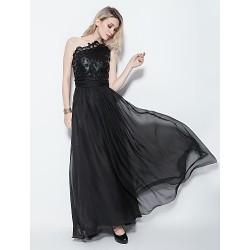 Formal Evening Dress - Black Plus Sizes / Petite A-line One Shoulder Floor-length Chiffon