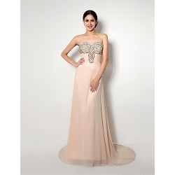 Formal Evening Dress - Champagne A-line Sweetheart Sweep/Brush Train Chiffon