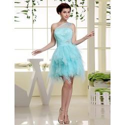 Formal Evening Dress - Sky Blue A-line One Shoulder Short/Mini Chiffon