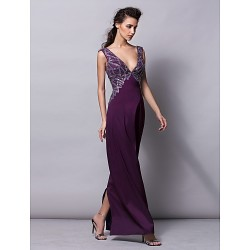 Formal Evening Dress Grape Plus Sizes Petite Sheath Column V Neck Floor Length Satin