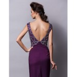 Formal Evening Dress - Grape Plus Sizes / Petite Sheath/Column V-neck Floor-length Satin Special Occasion Dresses