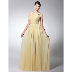 Floor Length Chiffon Bridesmaid Dress Daffodil Plus Sizes Petite Sheath Column Scoop Straps