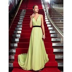 Formal Evening Dress Sage Plus Sizes Petite Sheath Column V Neck Sweep Brush Train Chiffon