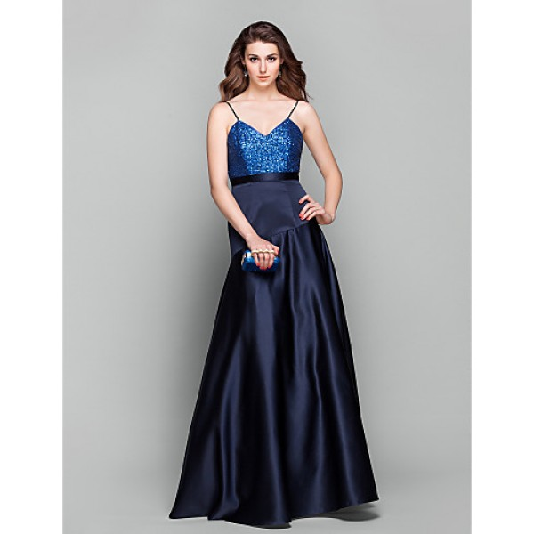 Formal Evening / Prom / Military Ball Dress - Dark Navy Plus Sizes / Petite A-line V-neck Floor-length Satin / Sequined Special Occasion Dresses