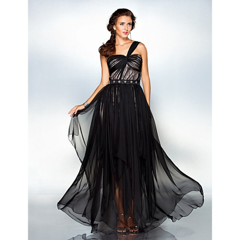 a125a1336 ... Sheath/Column One Shoulder Floor-length Chiffon · TS Couture Formal  Evening / Military Ball Dress - Black Plus Sizes / Petite Sheath/