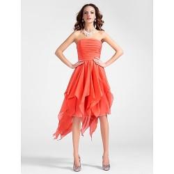 Cocktail Party Dress Watermelon Plus Sizes Petite A Line Princess Strapless Asymmetrical Knee Length Chiffon