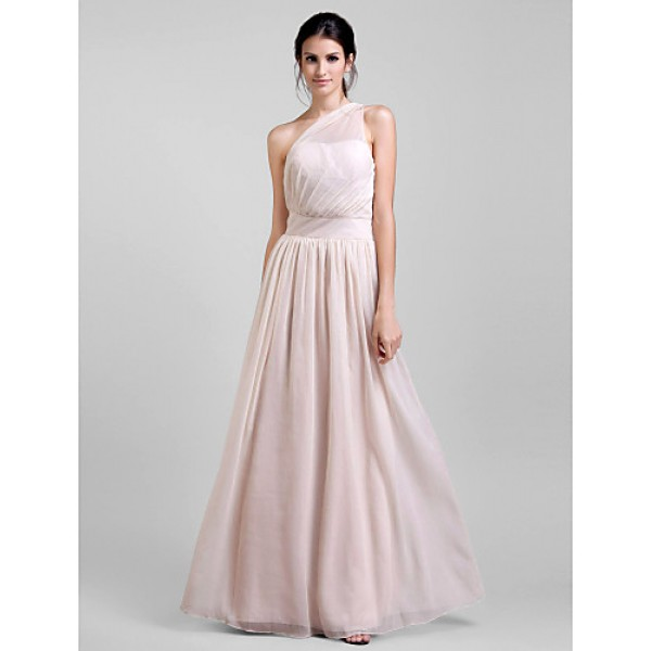Formal Evening / Prom / Military Ball Dress - Pearl Pink Plus Sizes / Petite Sheath/Column One Shoulder Floor-length Chiffon Special Occasion Dresses