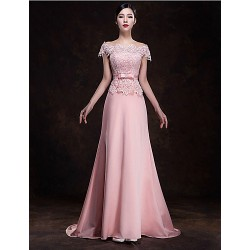 Formal Evening Dress - Candy Pink Plus Sizes A-line Off-the-shoulder Sweep/Brush Train Chiffon