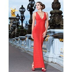Cocktail Party Formal Evening Dress Ruby Petite Sheath Column V Neck Ankle Length Rayon