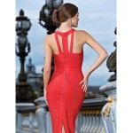 Cocktail Party / Formal Evening Dress - Ruby Petite Sheath/Column V-neck Ankle-length Rayon Special Occasion Dresses