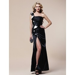 Formal Evening / Military Ball Dress - Black Plus Sizes / Petite Sheath/Column One Shoulder Floor-length Stretch Satin