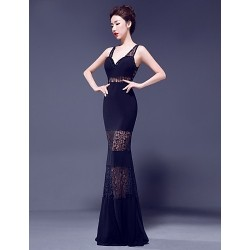 Formal Evening Dress - Ruby / Royal Blue / Dark Navy Trumpet/Mermaid V-neck Floor-length Lace / Jersey