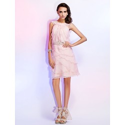 Cocktail Party Homecoming Wedding Party Dress Pearl Pink Plus Sizes Petite Sheath Column Jewel Knee Length Chiffon