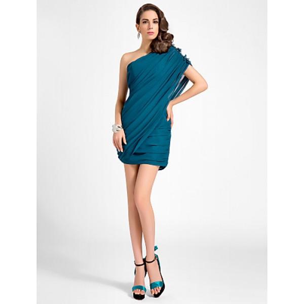 TS Couture Cocktail Party Dress - Ink Blue Plus Sizes / Petite Sheath/Column One Shoulder Short/Mini Chiffon Special Occasion Dresses